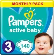 Pampers Active Baby Windeln Große 3 - 140 Windeln Monatsbox