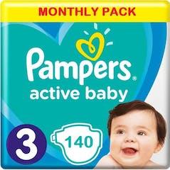 Pampers Active Baby Maat 3 - 140 Luiers Maandbox