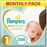 Pampers Premium Care Luiers Maat 1 - 208 Luiers Maandbox