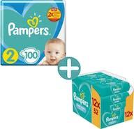 Pampers New Baby Luiers Maat 2 - 100 Luiers + Pampers Billendoekjes Fresh Clean-  624 doekjes